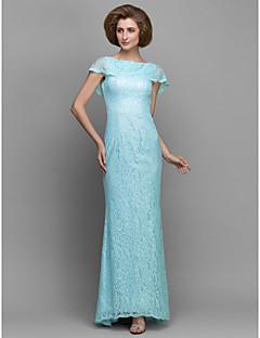 Sheath/Column Mother of the Bride Dress - Sky Blue Sweep/Brush Train Sleeveless Lace