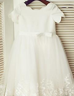 Φόρεμα για Κοριτσάκι Λουλουδιών Πριγκίπισσα Μέχρι το Γόνατο - Δαντέλα/Σατέν Κοντομάνικο