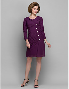 Sheath/Column Mother of the Bride Dress - Grape Short/Mini 3/4 Length Sleeve Chiffon