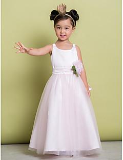 A-line Ankle-length Flower Girl Dress - Tulle Sleeveless