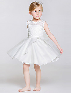 גזרת A באורך  הברך שמלה לנערת הפרחים - תחרה / טול / פוליאסטר ללא שרוולים עם תכשיטים עם