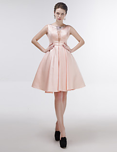 Knee-length Satin/Tulle Bridesmaid Dress - Blushing Pink A-line Jewel