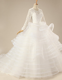 Ball Gown Wedding Dress - White Chapel Train Square Organza