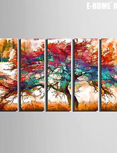 Paesaggio / Botanical Print Canvas Cinque Pannelli Pronto da appendere , Verticale