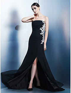 Formal Evening Dress - A-line Strapless Sweep/Brush Train Chiffon