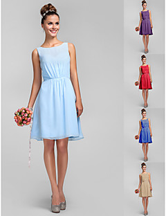 Knee-length Chiffon Bridesmaid Dress - Sky Blue / Royal Blue / Ruby / Champagne / Grape Plus Sizes / Petite A-line / Princess Bateau