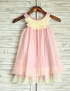 Princess Boho Pink Champagne Knee-length Flower Girl Dress - Chiffon Sleeveless