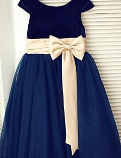 A-line Tea-length Flower Girl Dress - Tulle / Velvet Short Sleeve Scoop with