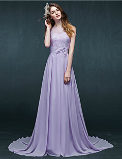Formal Evening Dress - Purple A-line Bateau Court Train Chiffon