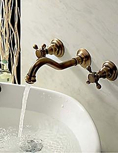 Wand montiert zwei Griffe drei Löcher im antiken Kupfer Waschbecken Wasserhahn