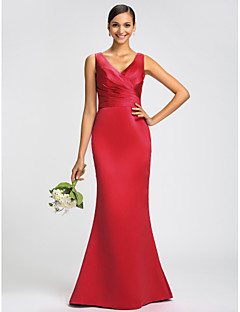 Dress - Fuchsia / Royal Blue / Ruby / Champagne / Grape Plus Sizes / Petite Trumpet/Mermaid V-neck Sweep/Brush Train Satin