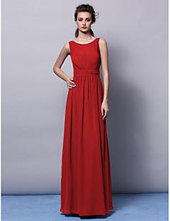 Lanting Bride® Longo Chiffon Vestido de Madrinha - Tubinho Decorado com Bijuteria Tamanhos Grandes / Mignon comPregueado / Faixa / Fita /