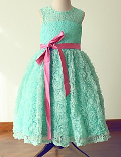 Princess Tea-length Flower Girl Dress - Lace / Satin Sleeveless Jewel with