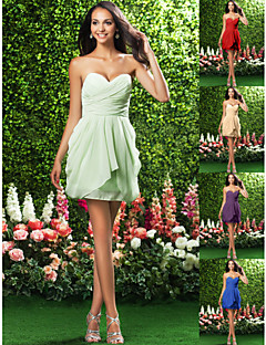 Vestido de Dama de Honor Corto/Mini con Corte en Columna