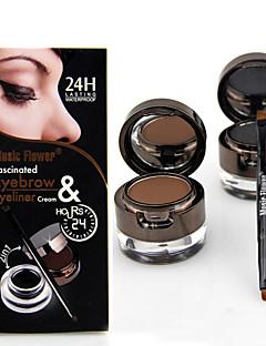 Professional Two Color (Black+ Brown) Makeup Waterproof Eyeliner Gel & Eye Shadow Set