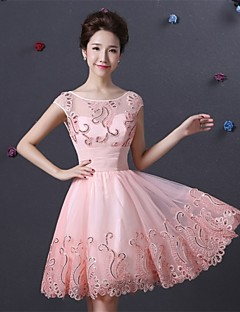 A-linje Bateau - Cocktail Fest Dress - Perle Rosa Knelengde Sateng