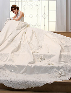 Ball Gown Wedding Dress Vintage Inspired Chapel Train High Neck Satin with Beading Sash / Ribbon Flower