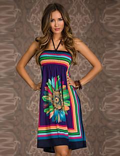 Brand New Best Selling Floral Dress 2015 New Trendy Popular Dress print Sleeveless Halter Fashion Summer Beach Dress