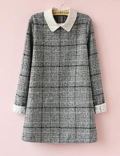 Colarinho de Camisa Vestido de maternidade Acima do Joelho Poliéster / Misto de Lã Manga Longa