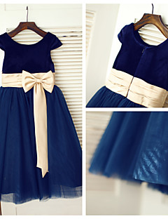 A-line Tea-length Flower Girl Dress - Tulle/Velvet Short Sleeve
