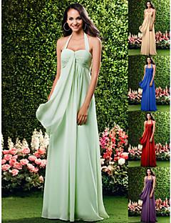 신부 들러리 드레스 - 세이지 시스/컬럼 바닥 길이 홀터/스위트하트 쉬폰 플러스 사이즈