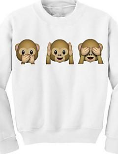 Dame Afslappet/Hverdag Sødt Sweatshirt 3D Print Rund hals Bomuld Uelastisk Langærmet Efterår