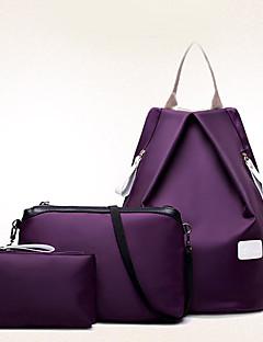 Damen Rucksack Reisetasche Bag Sets Nylon Ganzjährig Alltag Im Freien Bucket Bag Reißverschluss Schwarz Purpur Fuchsia Blau Wein