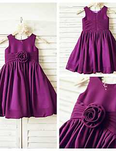A-line Knee-length Flower Girl Dress - Chiffon Sleeveless Scoop with
