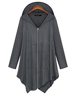 Mulheres Camiseta Casual Simples Outono,Sólido / Patchwork Preto / Cinza Algodão Com Capuz Manga Longa Média