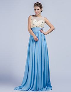 Formal Evening Dress - Pool Sheath/Column Jewel Sweep/Brush Train Chiffon