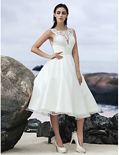 LAN TING BRIDE A-line Wedding Dress Little White Dress Knee-length Jewel Organza with Appliques