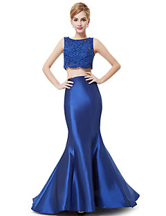 Formal Evening Dress - Pool Trumpet/Mermaid Jewel Floor-length Stretch Satin