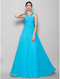 Lanting Bride® Floor-length Chiffon Bridesmaid Dress Sheath / Column Halter Plus Size / Petite with Criss Cross