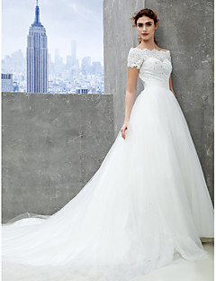 Lan Ting A-line Wedding Dress - Ivory Chapel Train Off-the-shoulder Lace/Tulle