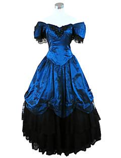 Uma-Peça/Vestidos Gótica Steampunk® / Vitoriano Cosplay Vestidos Lolita Azul Cor Única Manga Curta Comprimento Longo Vestido Para Feminino