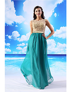 Formal Evening Dress - Jade Sheath/Column Jewel Floor-length Chiffon / Lace / Satin