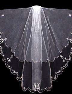 Wedding Veil Two-tier Fingertip Veils Cut Edge Tulle White / Ivory