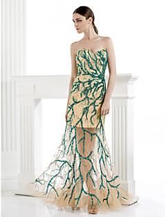 Fiesta formal Vestido - Salvia Corte Sirena Hasta el Suelo - Strapless Tul/Spandex