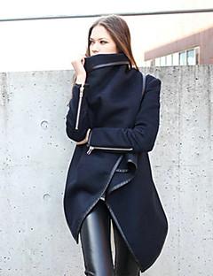 女性 カジュアル/普段着 オールシーズン コート,シンプル ブルー グリーン 長袖 ミディアム