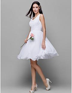 Robe de Demoiselle d'Honneur  - Blanc A-line Col U profond Longueur genou Mousseline polyester