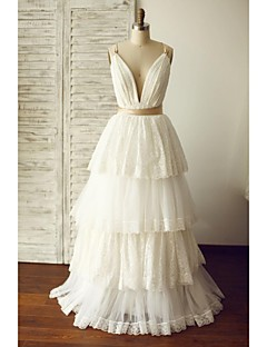 A-line Wedding Dress - Ivory Floor-length V-neck Lace / Tulle
