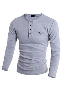 Menn Fritid / Sport Ensfarget Pullover,Bomull / Polyester Langermet Svart / Blå / Grå