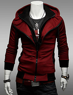 Men's Plus Size Casual/Daily Simple Hoodie Jacket Solid Cotton Polyester Long Sleeve Fall