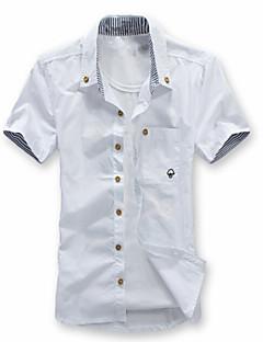 Men's Solid Casual Shirt,Cotton Blend Short Sleeve Black / Blue / Green / Pink / White