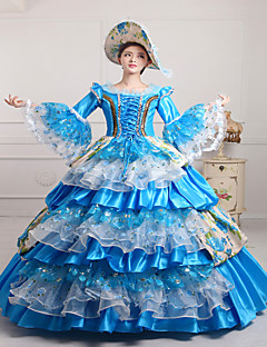 steampunk®classic 18th century Marie-Antoinette inspirerad klänning blå victorianklänning halloween festklänning