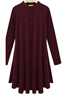 Women's Solid Red / Black / Khaki Dress , Vintage / Plus Sizes Crew Neck Long Sleeve