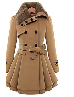 Women's Coats & Jackets , Casual / Party / Work Pan Collar Long Sleeve PeiNi