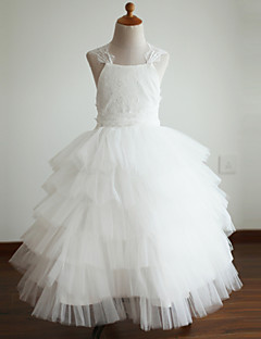 Ball Gown Ankle-length Flower Girl Dress - Lace / Tulle Sleeveless