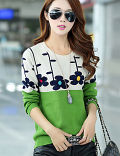 Women's Floral Blue / Pink / Red / Green Pullover , Casual / Cute Long Sleeve