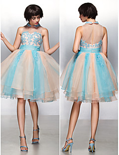 Cocktail Party Dress - Multi-color A-line Jewel Knee-length Organza